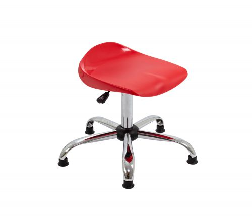 Titan Swivel Senior Stool - 465-555mm Seat Height - Red With Glides