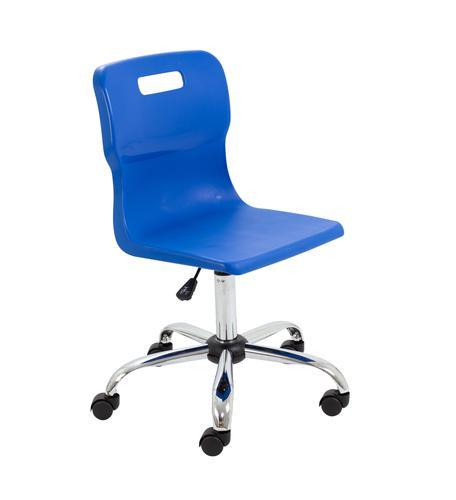 Titan Swivel Senior Chair - 435-525mm Seat Height - Blue With Castors