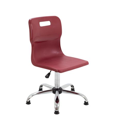 Titan Swivel Senior Chair - 435-525mm Seat Height - Burgundy With Glides