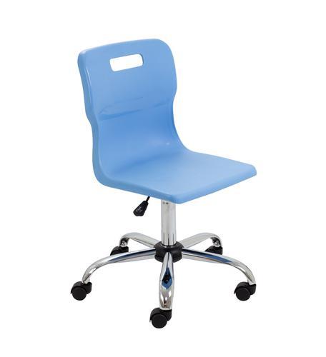 Titan Swivel Senior Chair - 435-525mm Seat Height - Sky Blue With Castors
