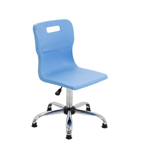 Titan Swivel Senior Chair - 435-525mm Seat Height - Sky Blue With Glides