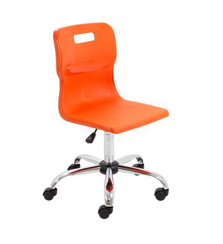 Titan Swivel Senior Chair - 435-525mm Seat Height - Orange With Castors