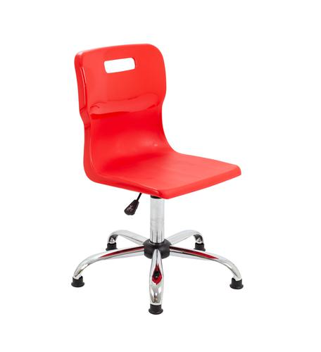 Titan Swivel Senior Chair - 435-525mm Seat Height - Red With Glides
