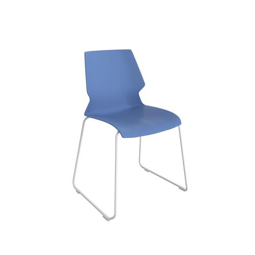 Titan Uni Skid Chair - White Frame / Blue Seat