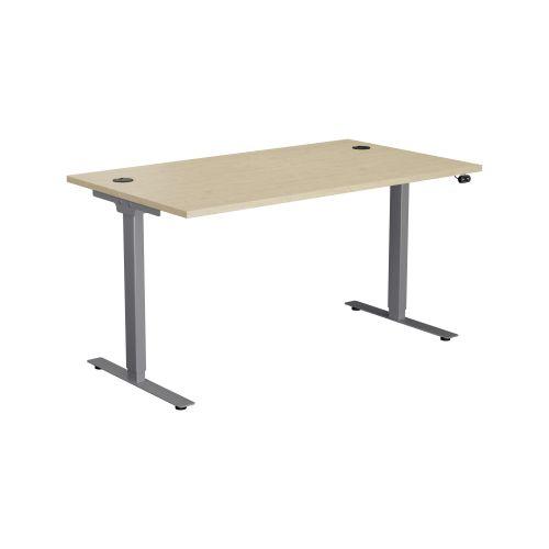E Desk KD 1400 X 800 Maple-Silver