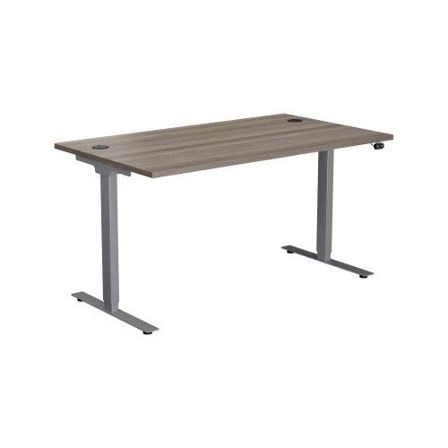 E Desk KD 1600 X 800 Grey Oak-Silver