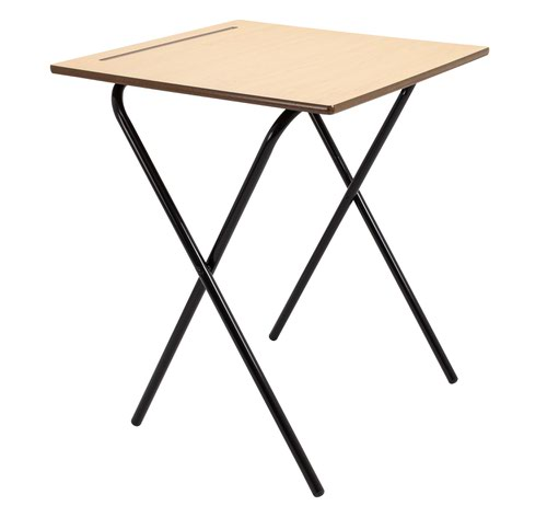 600X600 MDF Edge Folding Exam Desks With Safety Bar-720 High