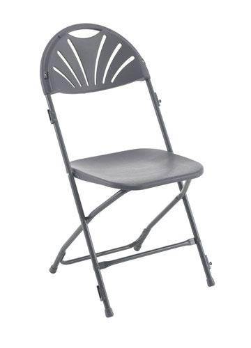 Linking Fan Back Folding Chair Charcoal