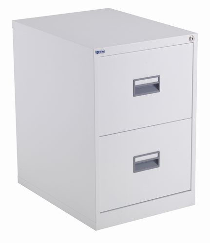 TC Steel 2 Drawer Filing Cabinet White