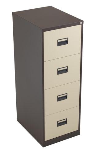 TC Steel 4 Drawer Filing Cabinet Coffee Cream