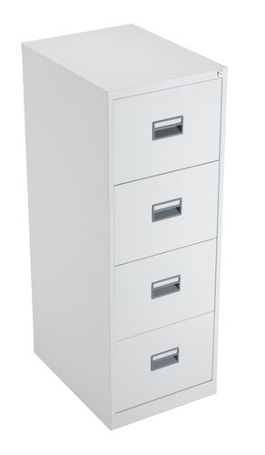 TC Steel 4 Drawer Filing Cabinet White