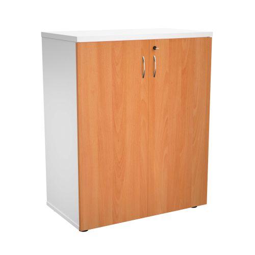 1000 Wooden Cupboard (450mm Deep) White Carcass Beech Doors