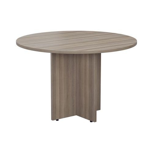 1100mm Round Meeting Table - Grey Oak