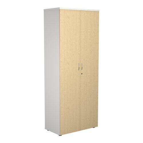 2000 Wooden Cupboard (450mm Deep) White Carcass Maple Doors