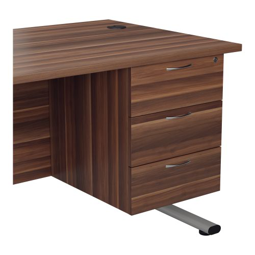 655 Fixed Pedestal 3 Drawers Dark Walnut