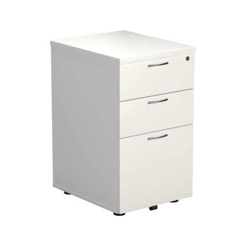 3 Drawer Under Desk Pedestal - White