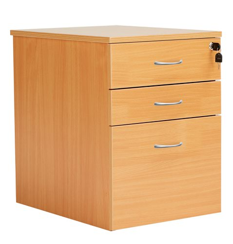 3 Drawer High Mobile Pedestal Beech Version 2