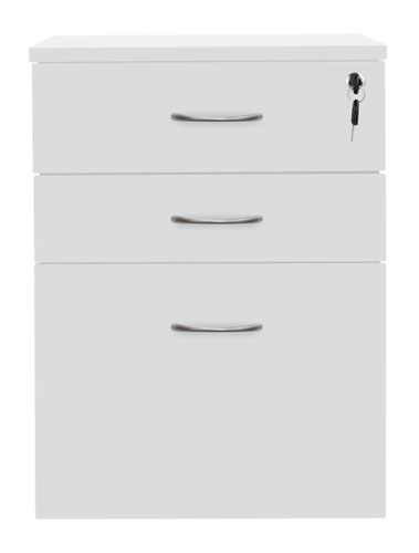 3 Drawer High Mobile Pedestal White