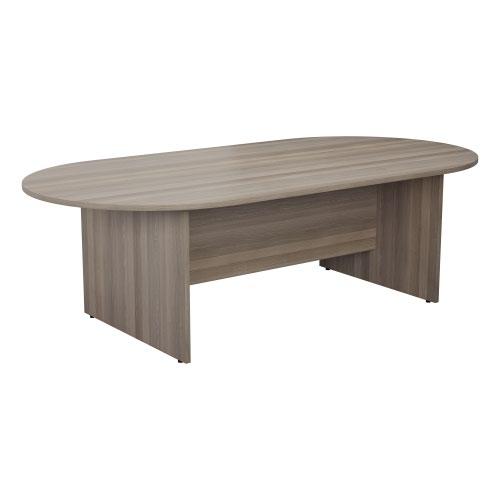 2400mm D-End Meeting Table - Grey Oak