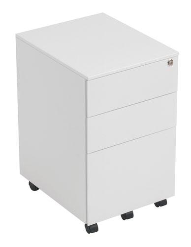 3 Drawer Under Desk Steel Pedestal - White