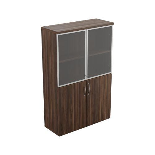 Regent 1640 Tall Glass Cupboard Dark Walnut