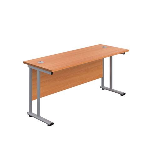 1400X800 Twin Upright Rectangular Desk Beech-Silver