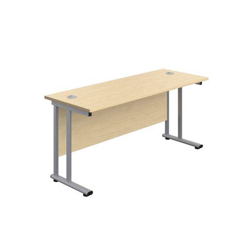 1400X800 Twin Upright Rectangular Desk Dark Walnut-White + Mobile 2 Drawer Ped