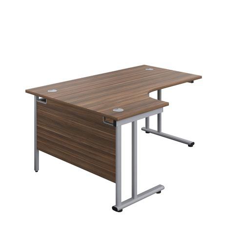 1600X1200 Twin Upright Left Hand Radial Desk Dark Walnut-Silver