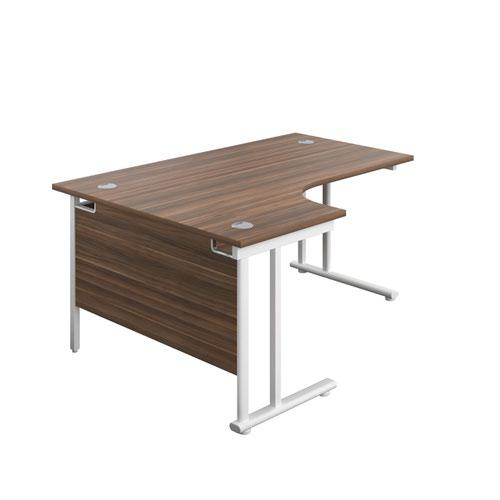 1600X1200 Twin Upright Left Hand Radial Desk Dark Walnut-White