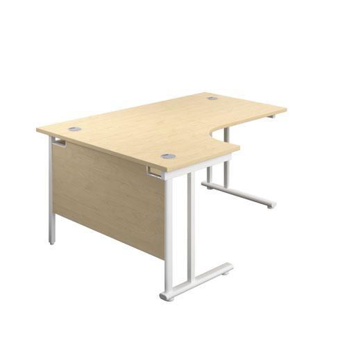 1600X1200 Twin Upright Left Hand Radial Desk Maple-White