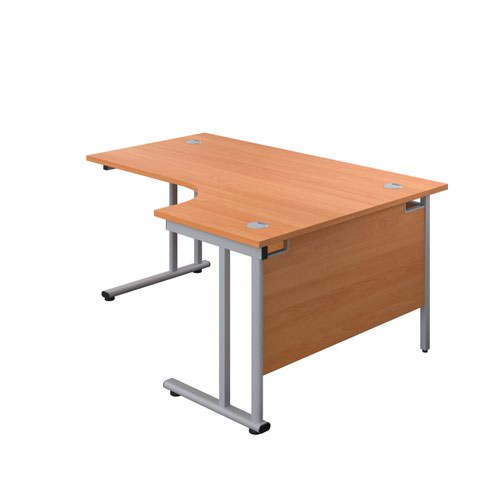 1600X1200 Twin Upright Right Hand Radial Desk Beech-Silver