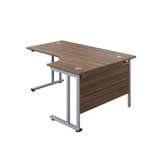 1600X1200 Twin Upright Right Hand Radial Desk Dark Walnut-Silver + Desk High Ped
