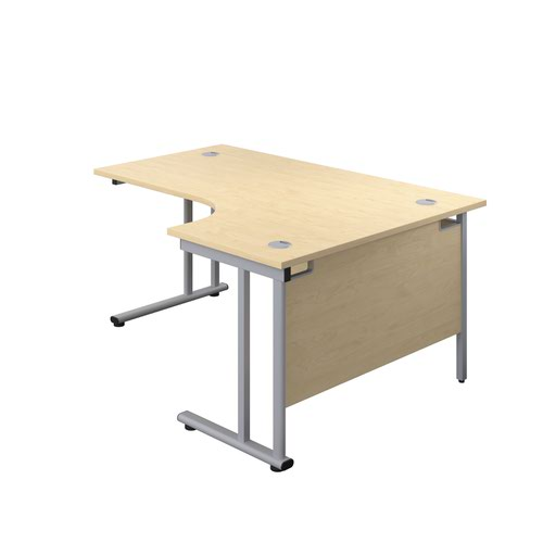 1600X1200 Twin Upright Right Hand Radial Desk Maple-Silver