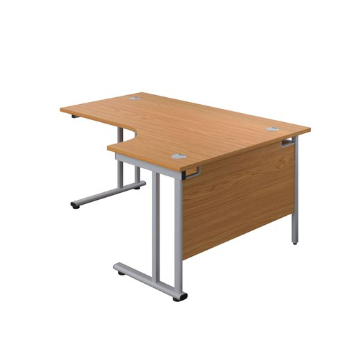 1600X1200 Twin Upright Right Hand Radial Desk Nova Oak-Silver