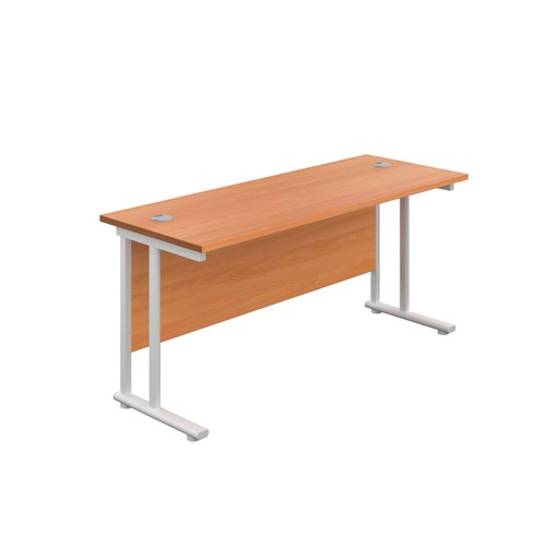 1600X600 Twin Upright Rectangular Desk Beech-White