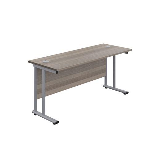 1600X800 Twin Upright Rectangular Desk Dark Walnut-Silver + Mobile 2 Drawer Ped