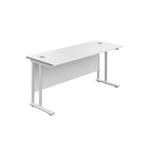 1600X800 Twin Upright Rectangular Desk White-White + Mobile 3 Drawer Ped