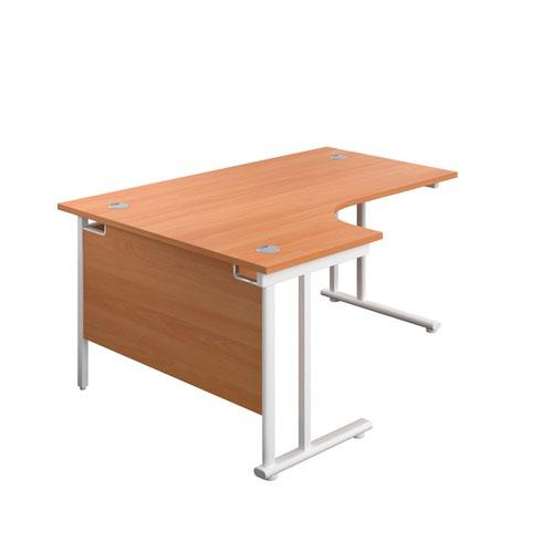 1800X1200 Twin Upright Left Hand Radial Desk Beech-White + Desk High Ped