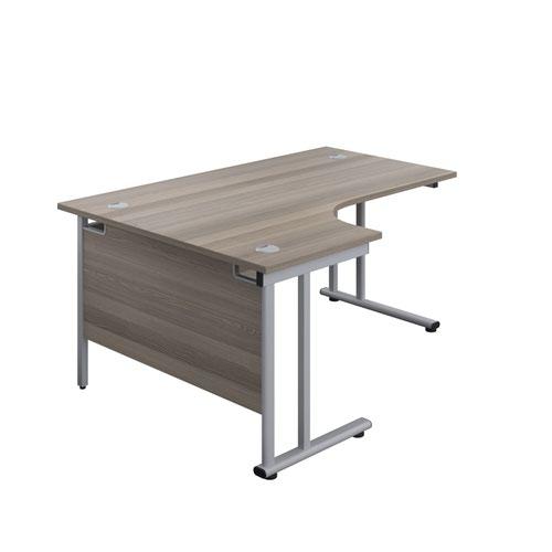 1800X1200 Twin Upright Left Hand Radial Desk Grey Oak-Silver