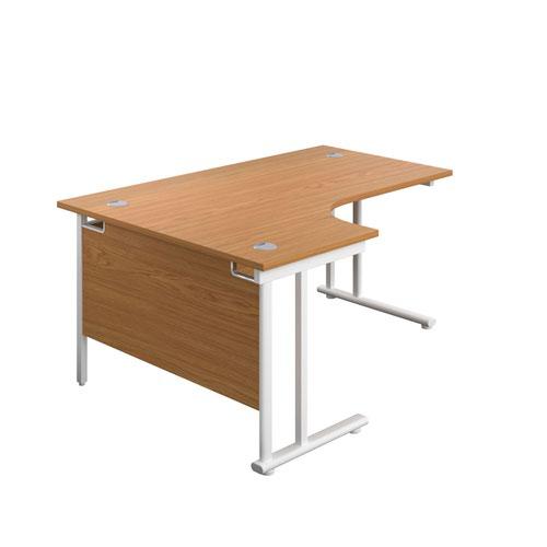 1800X1200 Twin Upright Left Hand Radial Desk Nova Oak-White