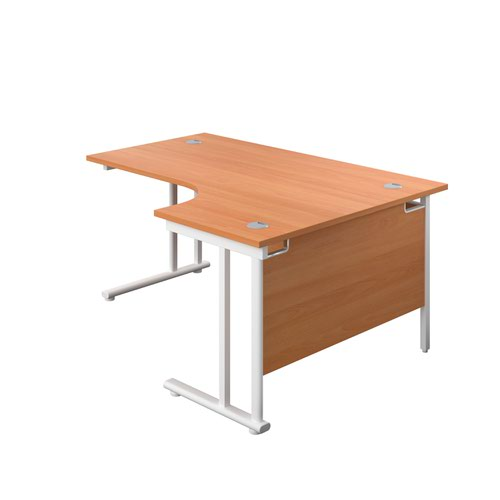 1800X1200 Twin Upright Right Hand Radial Desk Beech-White + Desk High Ped