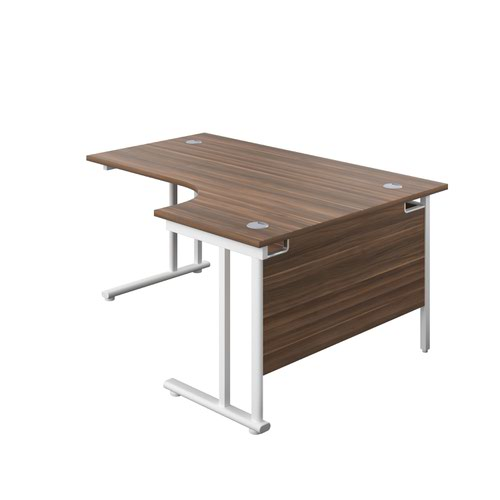 1800X1200 Twin Upright Right Hand Radial Desk Dark Walnut-White