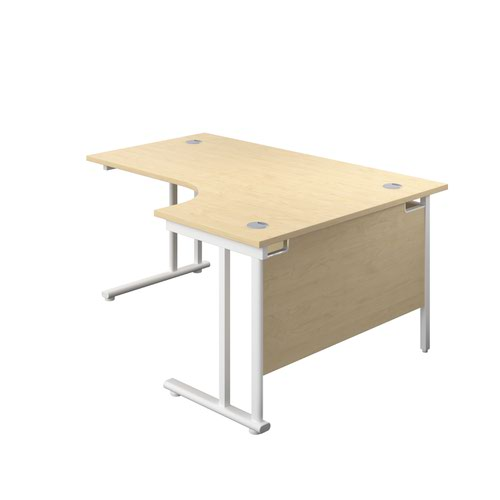 1800X1200 Twin Upright Right Hand Radial Desk Maple-White