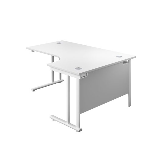 1800X1200 Twin Upright Right Hand Radial Desk White-White + Desk High Ped