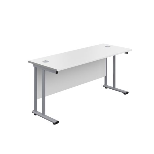1800X800 Twin Upright Rectangular Desk White-Silver + Mobile 3 Drawer Ped