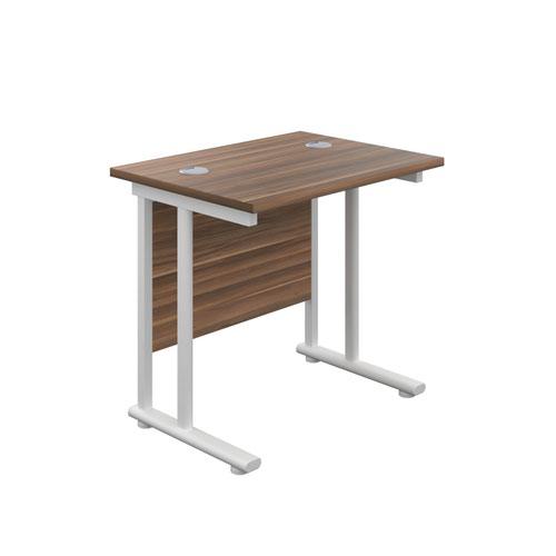800X600 Twin Upright Rectangular Desk Dark Walnut-White