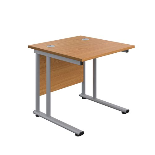 800X800 Twin Upright Rectangular Desk Nova Oak-Silver