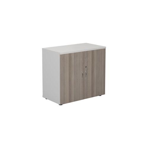 700 Wooden Cupboard (450mm Deep) White Carcass Grey Oak Doors