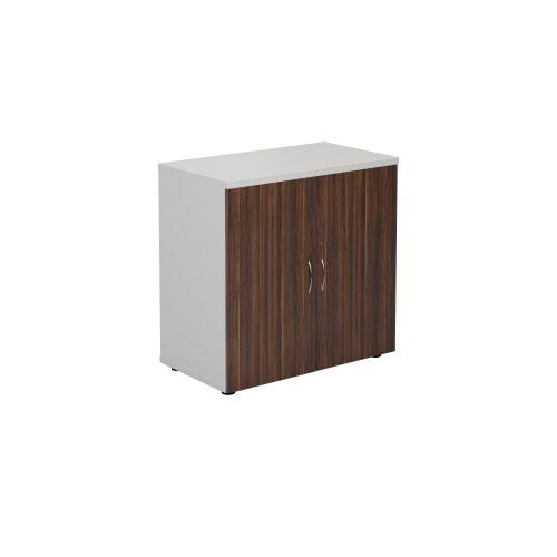 800 Wooden Cupboard (450mm Deep) White Carcass Dark Walnut Doors