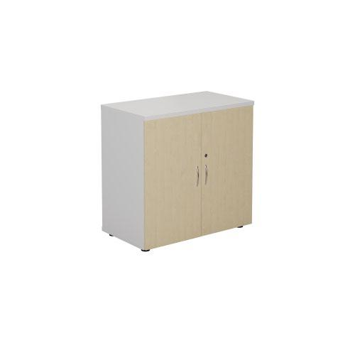 800 Wooden Cupboard (450mm Deep) White Carcass Maple Doors